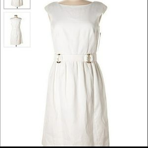 David Meister White A-line Dress with Pockets